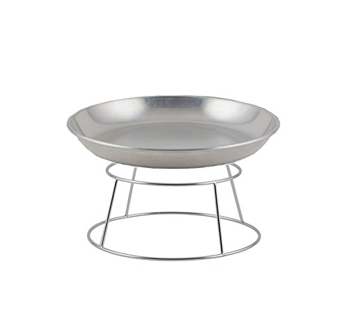 Winco ASFT-20 & SFR4, 250-Ounce Brushed Aluminum Round Serving Seafood Platter Tray with Display Rack Holder (250 oz)