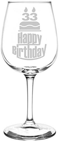 Personalized & Custom (33rd) Three Tier Happy Birthday Cake Inspired - Laser Engraved 12.75oz Libbey All-Purpose Wine Taster (Cute Halloween Cakes Birthday)