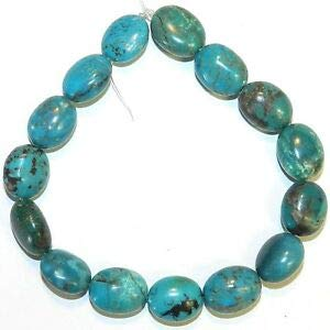 T1521fd Blue-Green Turquoise 14mm Polished Puffed Flat Oval Gemstone Beads 8