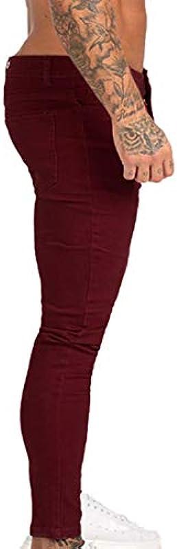 laamei męskie spodnie jeansowe skinny długie, jednokolorowe, rozciągliwe, czerwone wino, jeansy Regular Fit Hip Hop, spodnie dresowe z kieszeniami: laamei: Odzież