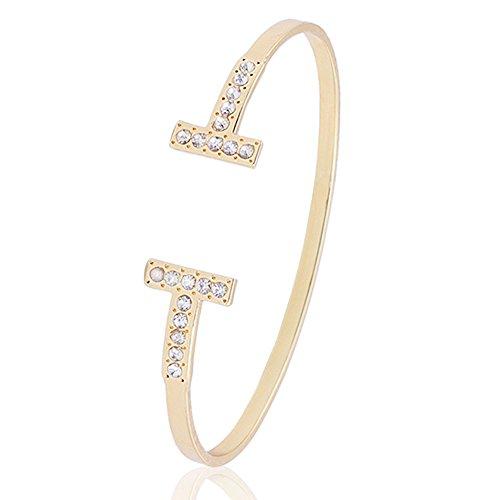 SENFAI Simple Double T Cuff Bracelet/Jewelry Set for Women (Crystal Bracelet, Gold-Plated-Brass) ()