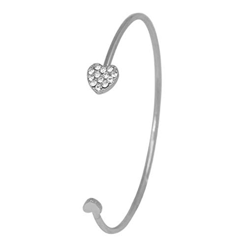 Tinffy Adjustable Rhinestone Inlaid Love Heart Cuff Open Bracelet Bangle Women Jewelry