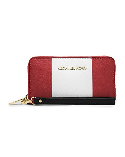 Michael Kors Essential Zip Wallet for iPhone 6 Red/White/Black Saffiano