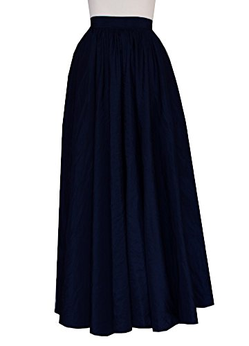E K Women's long full circle taffeta skirt Maxi evening prom formal skirt-M-navy by E K