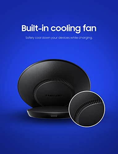 Samsung Qi Certified Fast Charge Wireless Charger Stand (2019 Edition) with Cooling Fan for Select Galaxy and Apple Iphone Devices - US Version