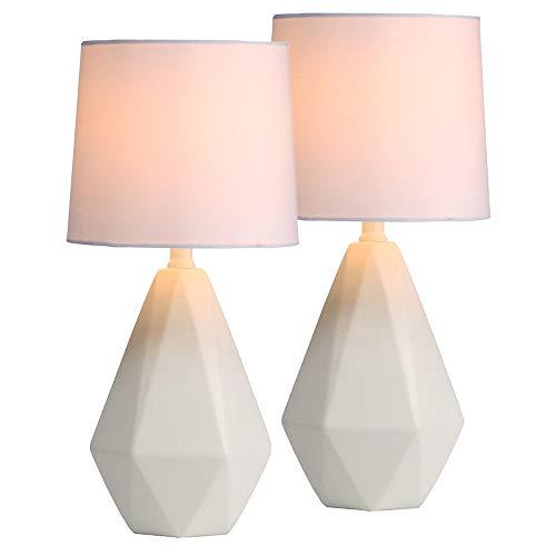 SOTTAE Modern Ceramic Small White Irregular Geometric Livingroom Bedroom Bedside Table Lamp,Cute Desk Lamp with White Fabric Shade(Set of 2) ()