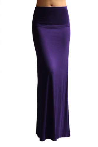Azules Women'S Rayon Span Maxi Skirt - Eggplant S