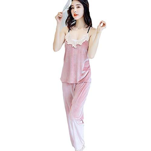 Escote De Mujer En Pink Oro Pijamas Piezas V Terciopelo Para Tres Sexy Bata xZaWYS