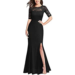 FORTRIC Women Floral Lace Split Elegant Prom Formal Party Long Evening Dresses