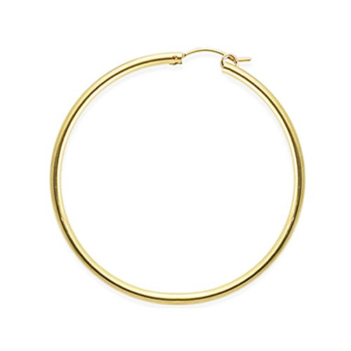 Designs by Nathan, 14K Yellow Gold Filled Seamless Classic Notch Hoop Tube Earrings, Many Sizes (2.3mm x 49mm (about 2