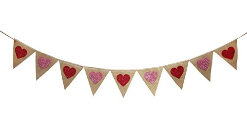 (Seasons Treasure 9ft Handmade Valentines Day Decoration Burlap Banner Garland w 9 pcs Felt glittered Heart pennants Banner for Valentines Day Party)