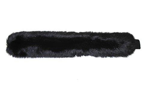 715144 New Black Dyed Fox Fur Headband Hat Collar Head Wrap Cute Accessory by Bergama