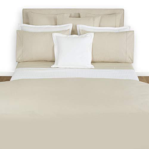 (Ralph Lauren RL 464 Solid Percale Queen Flat Sheet - New Linen Beige)