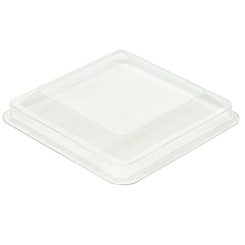 Lids for 5.5 oz Square Large Mini Serving Cups [24 Count, Clear Plastic]