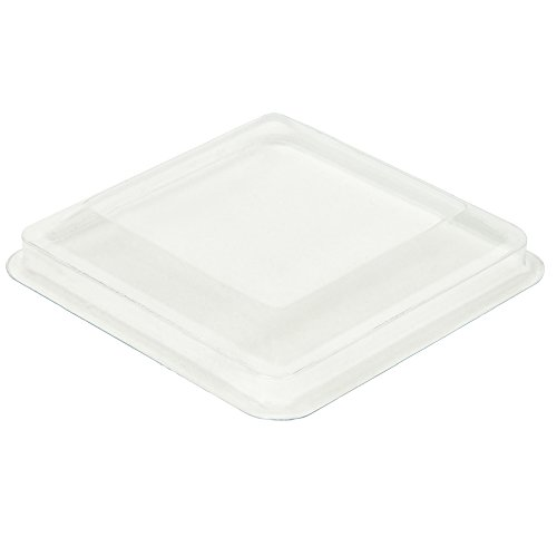DLux Lids for 5.5 oz Square Large Mini Serving Cups [24 Count, Clear (Cool Halloween Dessert Recipes)