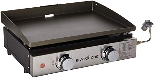 Blackstone Tabletop Grill - 22 Inch Portable Gas Griddle - Propane Fueled - 2 Adjustable Burners - Rear Grease Trap - For Outdoor Cooking While Camping, Tailgating or Picnicking - Black (Covered Stone Patio)