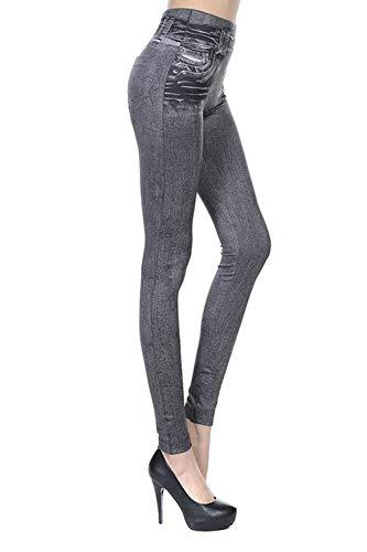 La Alta Mujeres Bolsillos Cintura Grey Botón Los Casuales Vaqueros Estiramiento Del De Señoras Polainas Con Pantalones Las Moda 0CaxYn