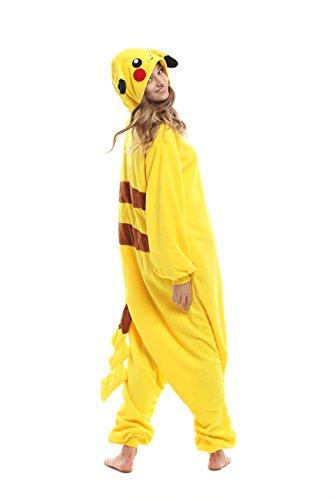 Team Mascot Button - [Qute] Pikachu Kigurumi Pajamas- Unisex Costume Animal & Pokemon Character Pyjamas (XL 175cm ~ 185cm (5'74