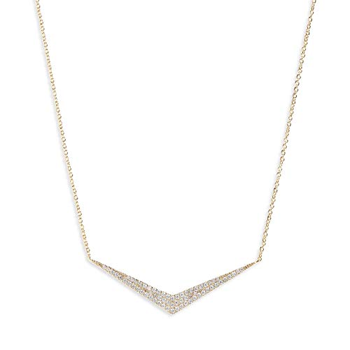 (Jules Smith 14k Gold Necklace for Women – Pave Pendant Necklace with Dainty Adjustable Chain for Perfect Sizing – Real Gold Plated Cubic Zirconia Necklace)