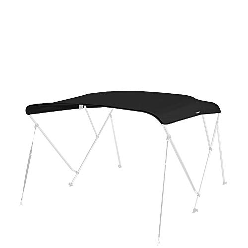 MSC 600D Canopy Canvas Replacement Without Poles (Black, Fits 6'Lx73-78 W 3 Bow Bimini -