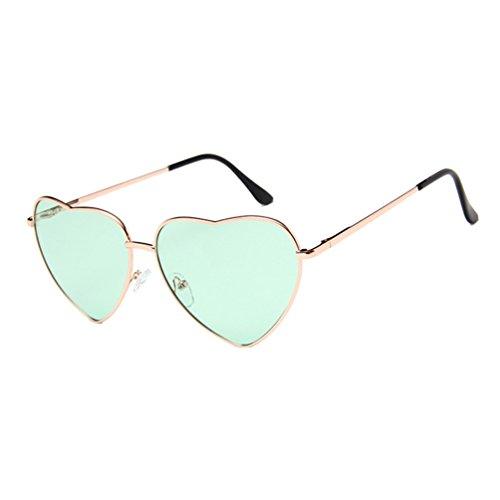 Metal Sunglasses Forma Mujer Marco Retro de Aviador Corazón de Gafas de Verde Hombres LINNUO Eyewear Dorado Marco Colores Sol pxWCHgwnXq