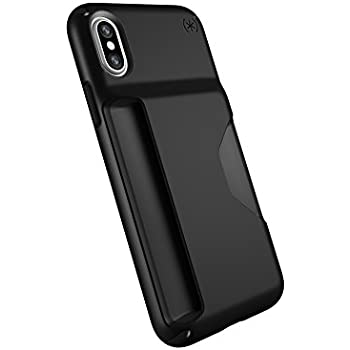 big sale 52b4f eae87 Speck iPhone XS Presidio Wallet Case, Scratch-Resistant IMPACTIUM 10-Foot  Drop Protected iPhone Case with Secure & Private Card Slot, Black