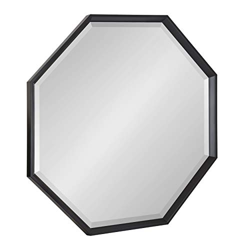 Kate and Laurel Calter Modern Large Octagon Frame Wall Mirror, 31.5 x 31.5, Black]()