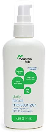 Mountain Falls Daily Facial Moisturizer Broad Spectrum UVA/UVB SPF 15 Sunscreen for All Skin Types, Fragrance Free, 4.8 Fluid Ounce
