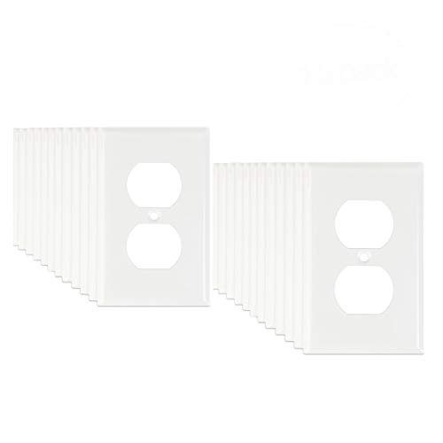 Gang Duplex Wall Plate Single - 24-Pack LoGest Duplex 1 Gang Bulk Contractor White Wall Plates - Metal - Steel - Home Electrical Outlet Cover - Port Replacement Receptacle - Faceplates Covers - Matching screws