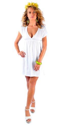 1 Monde Sarongs Des Femmes Des Cover-up Robe Courte Encolure En V Profond Solide Blanc