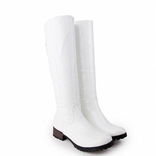 Carolbar Dames Charmes Mode Casual Eenvoudig Comfort Lage Hak Hoge Laarzen Wit