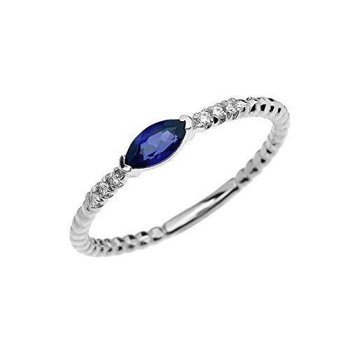 10k White Gold Dainty Diamond and Marquise Sapphire Beaded Stackable/Promise Ring(Size 8)
