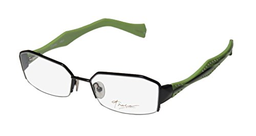 Thalia Cielo Womens/Ladies Rxable Hip & Chic Designer Half-rim Flexible Hinges Eyeglasses/Eye Glasses (50-16-135, Black / - Eyeglass Frames Hip