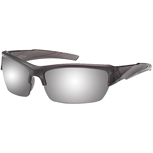 Siren Vanguard Sports Sunglasses UV400 Choose Polarized or Normal Lens (Polarized Mirror Transparent Grey (Grey Polarized Mirror)