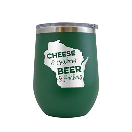 (Cheese & Crackers Beer & Packers - Engraved Tumbler Wine Mug Cup Unique Funny Birthday Gift Graduation Gifts for Men Women Football Wisconsin Green Bay Tailgate Badgers Packers (Green - 12 oz))