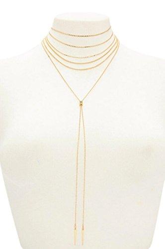 AnaZoz Collar Colgante Chapado en Oro Collares Mujer Multiples Caps Doble Barras Larga Collar de Mujer Oro
