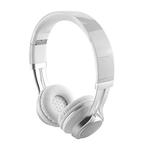 EARFUN EF-E6 Women's On-Ear Headphones with Mic, Lightweight Foldable Headphone with Microphone, Sized to fit Women and Girls (Silver White)