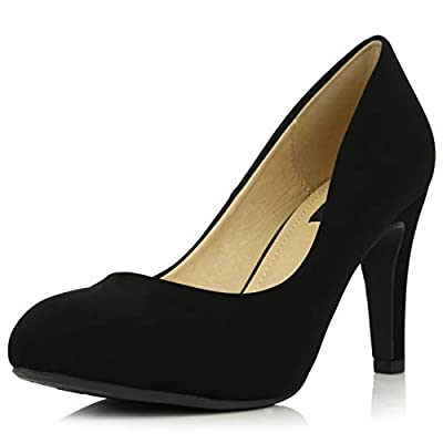 DailyShoes Women's Comfortable Cushioned Slip On Hidden Wedge Low Heels Round Toe Dress Pumps Shoes