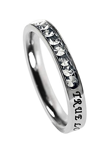 Spirit And Truth Jewelry Princess Cut Diamond Color (April Birthstone) Cubic Zirconium Ring True Love Waits Verse I Tim 4:12 Petite Band -