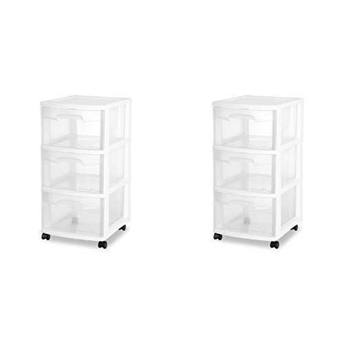 Cart Storage Plastic - Sterilite 28308002 3 Drawer Cart, White Frame with Clear Drawers and Black Casters, 2-Pack