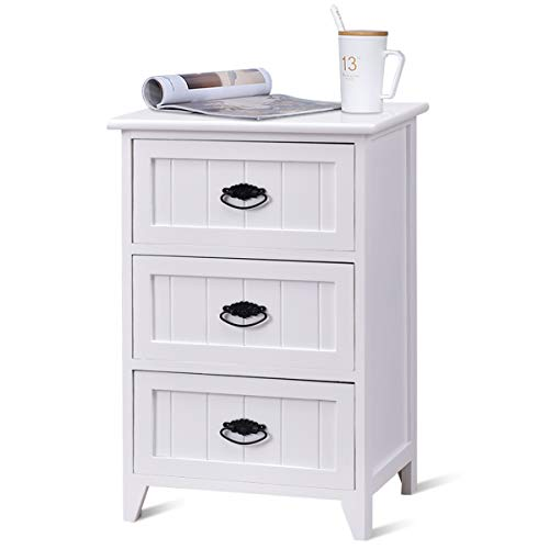 Giantex 3 Drawers Nightstand End Table Bedroom W/Storage, Solid Structure and Stable Frame Elegant Style Organizer Wooden Side Bedside Table (1, White)