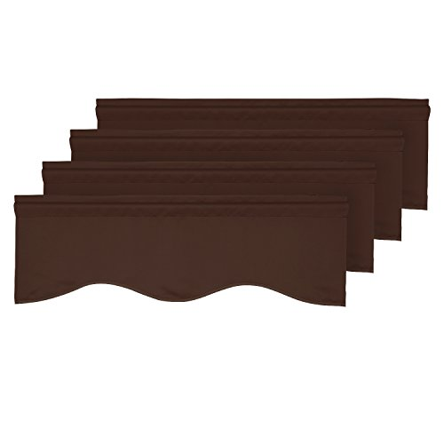 (Deconovo Blackout Valance Scalloped Valance for Kitchen Solid Rod Pocket Tier Curtains 42x18 Inch Chocolate Brown 4 PCS )