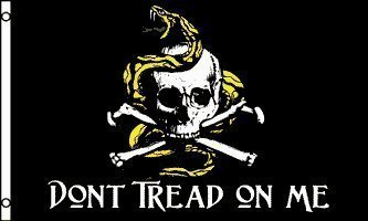 Gadsden Don't Tread On Me Pirate Skull 5'x3' Flag by 1000 Fl