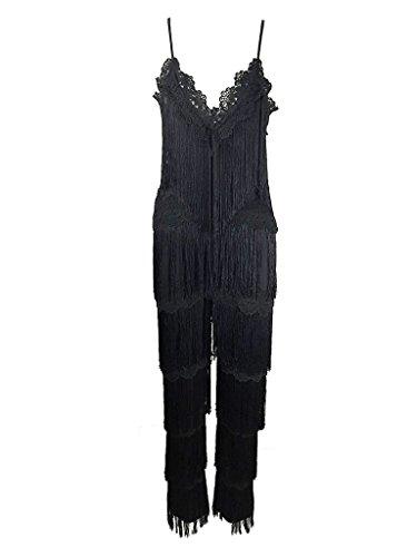 06166fd5b47 Amazon.com  S Curve Women s Spaghetti Strap Lace V Neck Fringe Tiered  Jumpsuit  Clothing