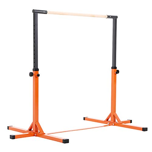 - Outroad Gymnastics Training Bar Adjustable Height Kip Bar with Added Stability - Gym Pro Gymnastics Bar Pink/Orange