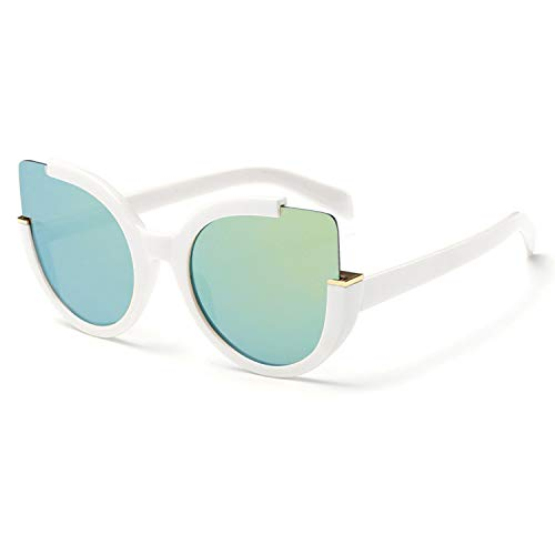Supertrip Womens Fashion Oversized Round Square Plastic Vintage Cut-Out Flash Mirror Lens Cat Eye Sunglasses (White-gold(new))