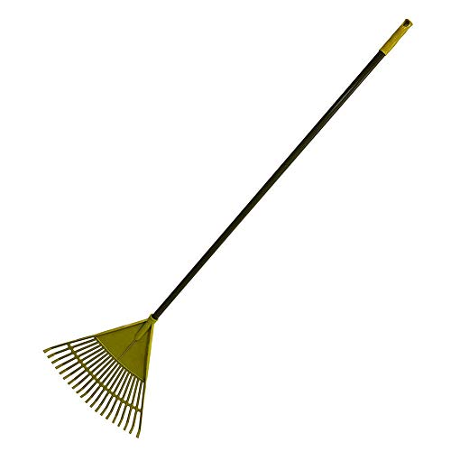 Garden Bow Rake Wood Handle Landscape Cultivator Gardening Tool Leveling Mulch peat Moss and Loose Heavy soils Long Handle Sweep Fall Leaves No Bending Easy Grip (Plastic Rake)