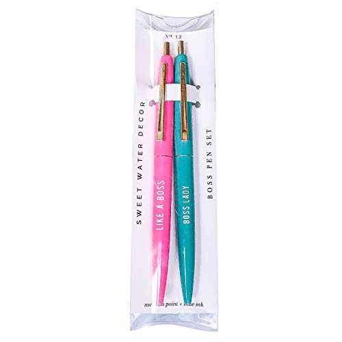 Boss Lady Pen Set, Like A Boss Pen, Boss Pen Set, Pink and Mint Pens, Gift For Boss Woman, Empowering Gift For Women