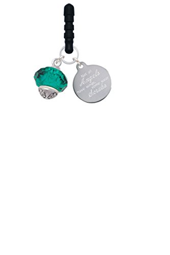 Teal Faceted Glass Spinner Angels Wear Scrubs Phone Charm