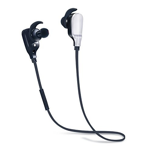 Ansion Bluetooth Wireless Sports 4.1 Lightweight HD Noise Cancelling In-Ear Headphones with Mic,  Black